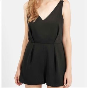TOPSHOP Black V Pleated Lined Romper